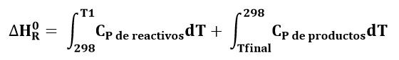 Entalía de reacción a temperatura no estándar