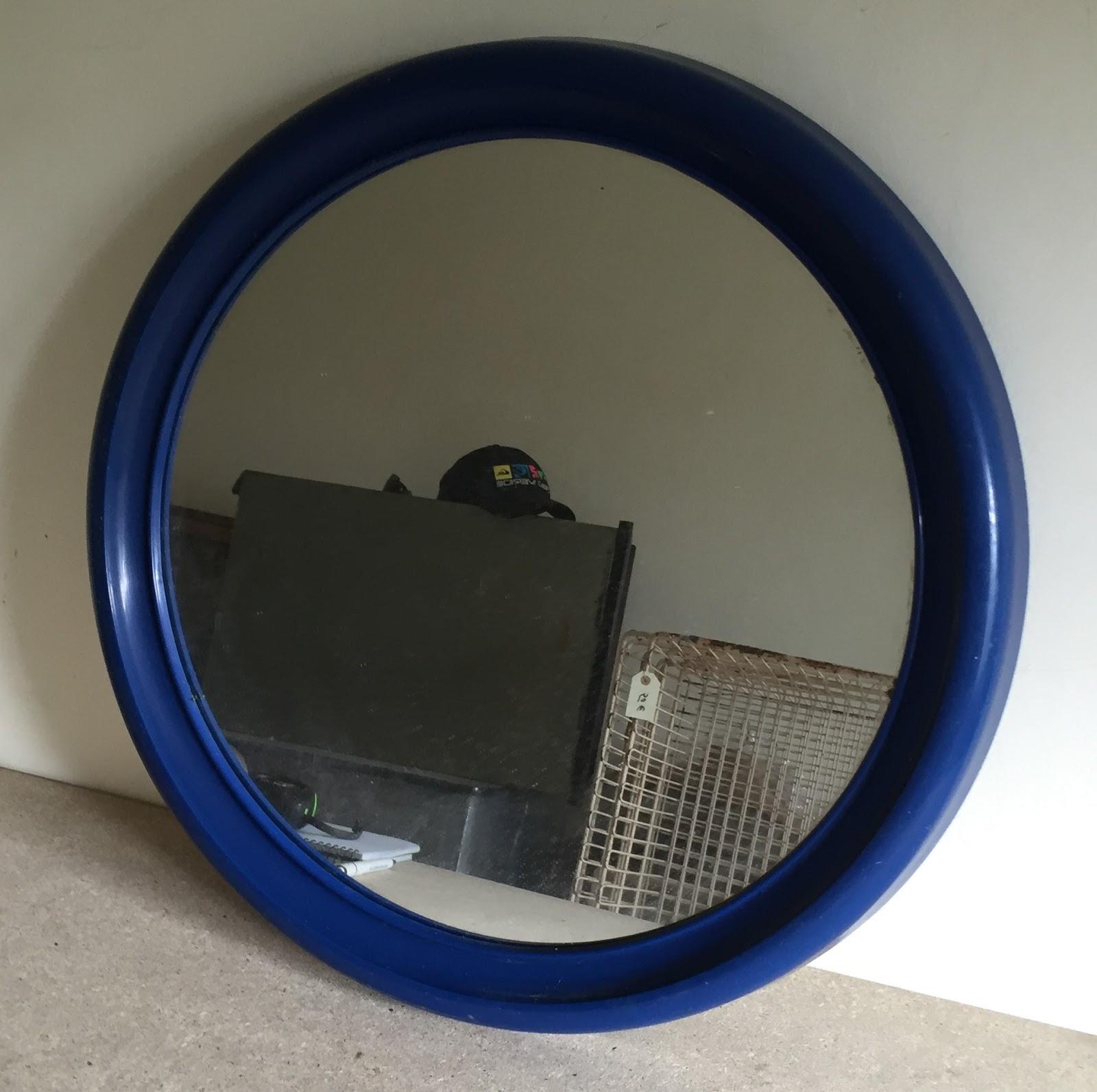 Espejo ba o marco pl stico azul vintage jacoboansin - Espejo de plastico ...