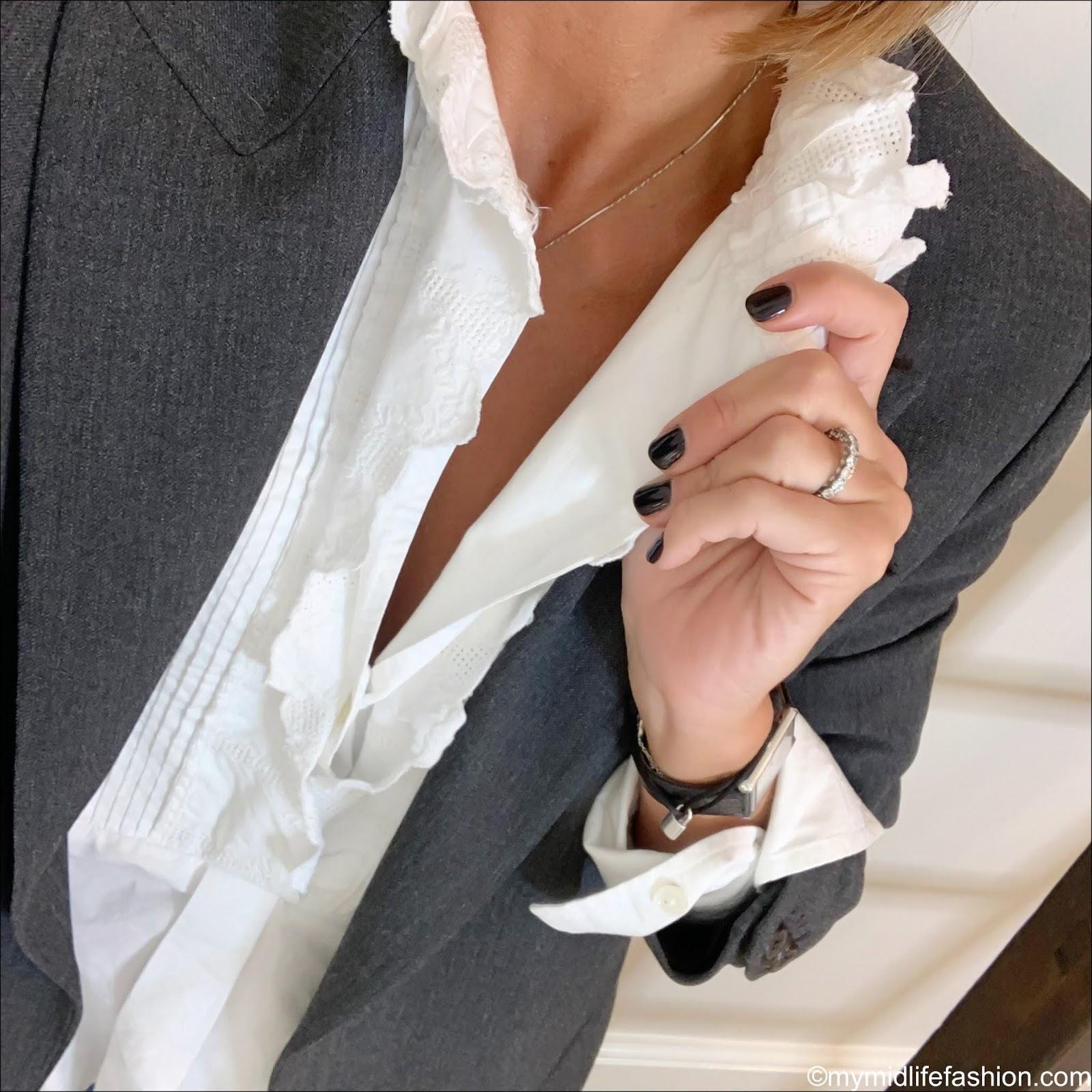 my midlife fashion, Isabel Marant Etoile frill blouse, Zara oversized blazer with pockets, j crew skinny jeans, J Crew Skinny jeans, j crew suede tassel flat shoes