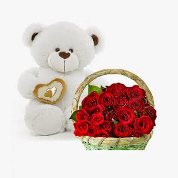 Boneka beruang putih bawa bunga gratis wallpaper