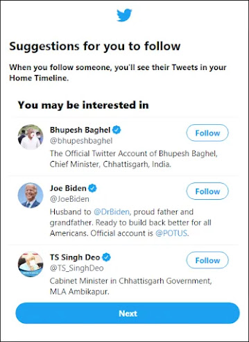 Suggestions to follow peoples on twitter