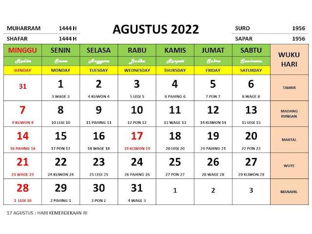 Kalender Bulan Agustus 2022 dan Hari Peringatannya