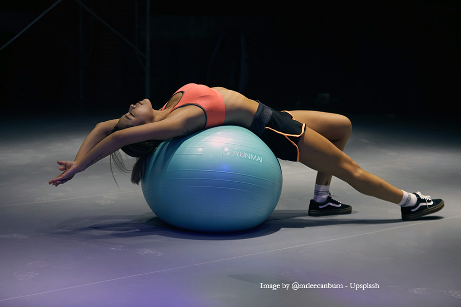 Girl on an exercise ball
