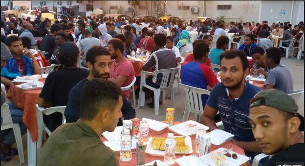Libya holds a Ramadan Iftar feast for nearly 1,300 illegal immigrants