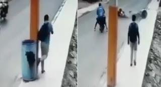 Estudiante patea zafacón en acera de Vicente Noble y provoca accidente ( Ver video)