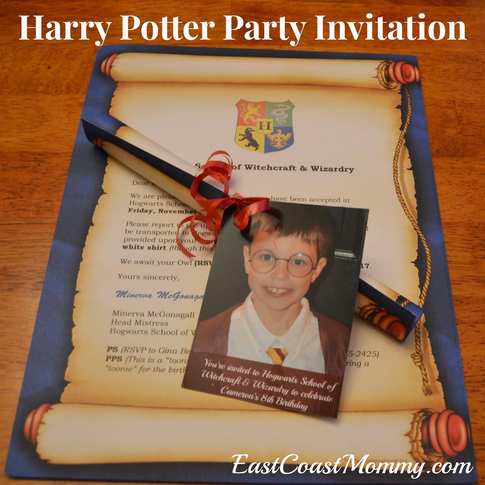 East Coast Mommy DIY Harry Potter Invitation
