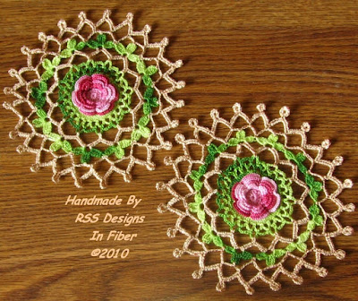 Set of 2 Red Rose Doilies with Gold Metallic Accents - By Ruth Sandra Sperling at RSS Designs In Fiber