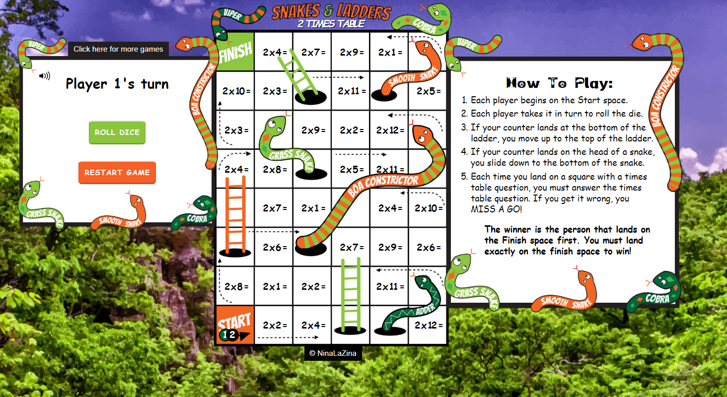Online Snakes and Ladders Game No ads!
