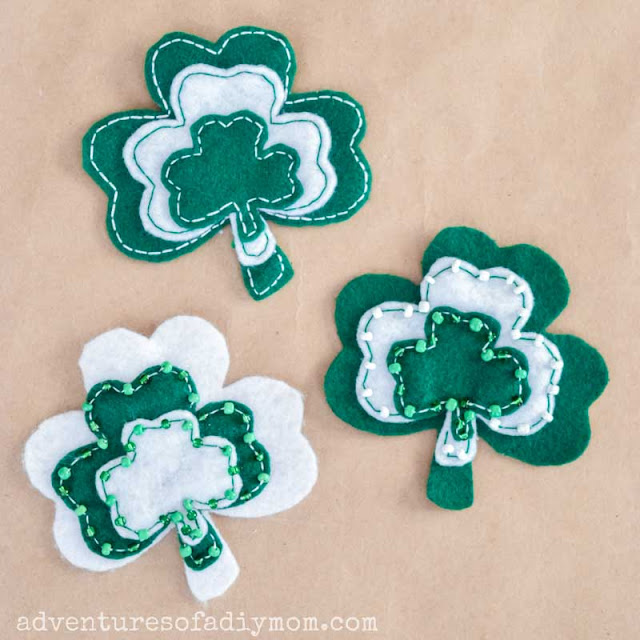 shamrock pins made from green and white felt