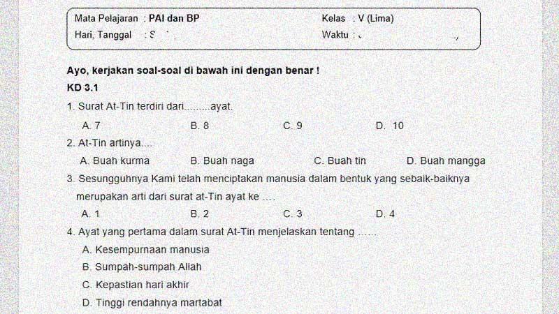 Soal dan Kunci Jawaban PTS Mapel PAI dan BP Kelas 5 Semester 1