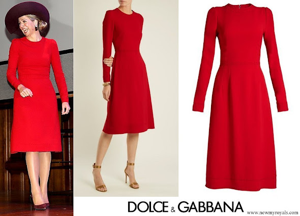 Queen Maxima wore DOLCE & GABBANA Contrast stitch cady dress