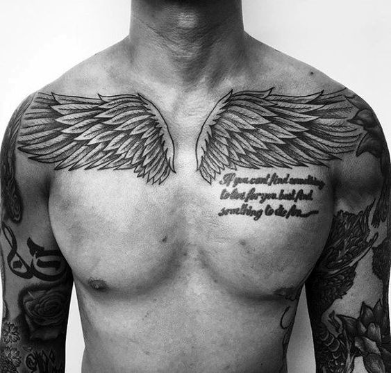wing tattoo on chest for men