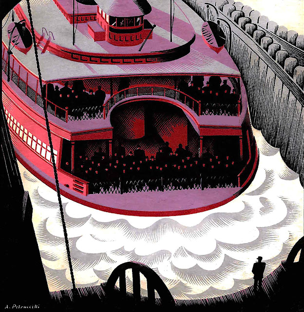 an Antonio Petruccelli illustration of a departing ferry for Fortune Magazine 1935