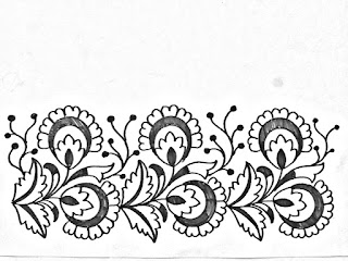 Hand embroidery saree border design sketch