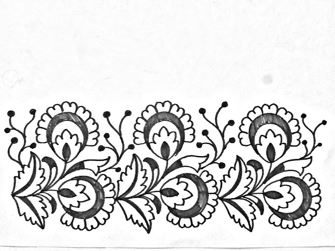 Hand embroidery design -04 | How to draw an easy flower border design for hand embroidery