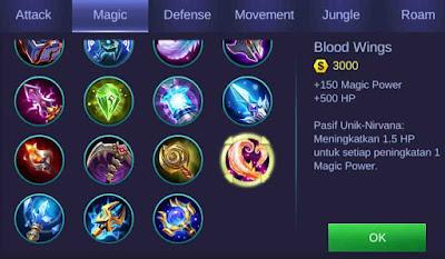 Blood Wings item penambah magic power