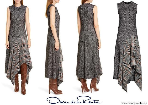 Queen Maxima wore an asymmetrical flannel tweed midi dress from Oscar De La Renta