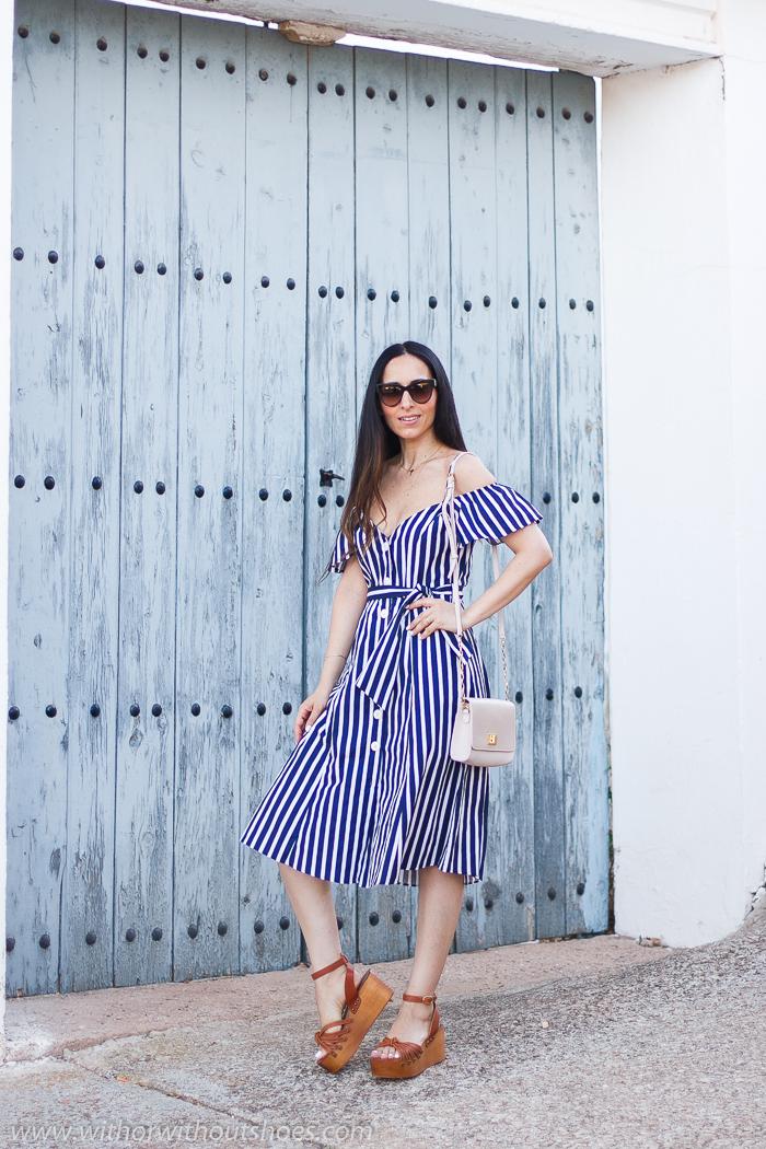 Blogger influencer valenciana con ideas de outfit como combinar con estilo los vestidos midi botones
