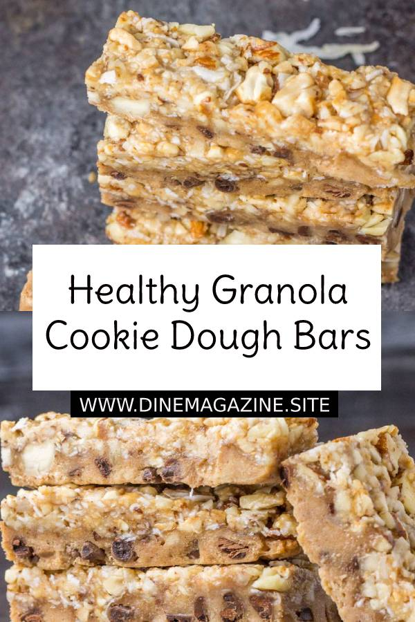 Healthy Granola Cookie Dough Bars Recipe #healthybars #bars #cookies #healthycookies #dessert #healthydessert #healthysnacks #snacks #doughbars