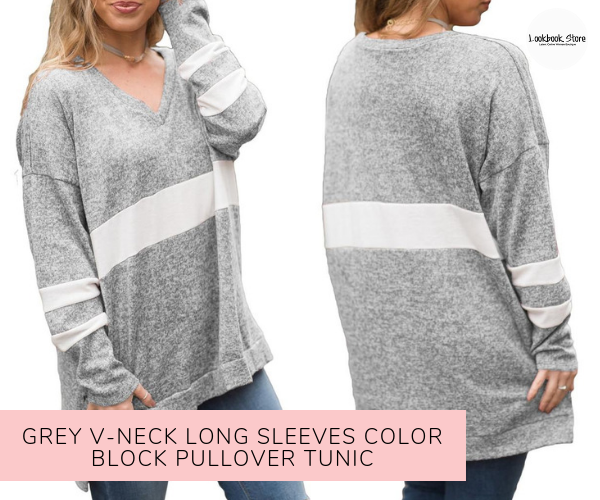 Grey V-Neck Long Sleeves Color Block Pullover Tunic - Lookbook Store