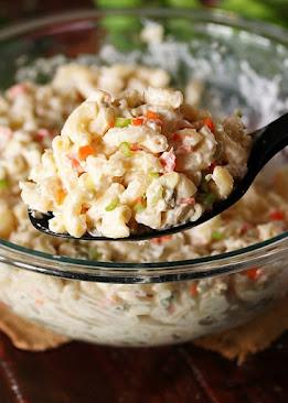 Serving Spoon of Copycat KFC Macaroni Salad Image