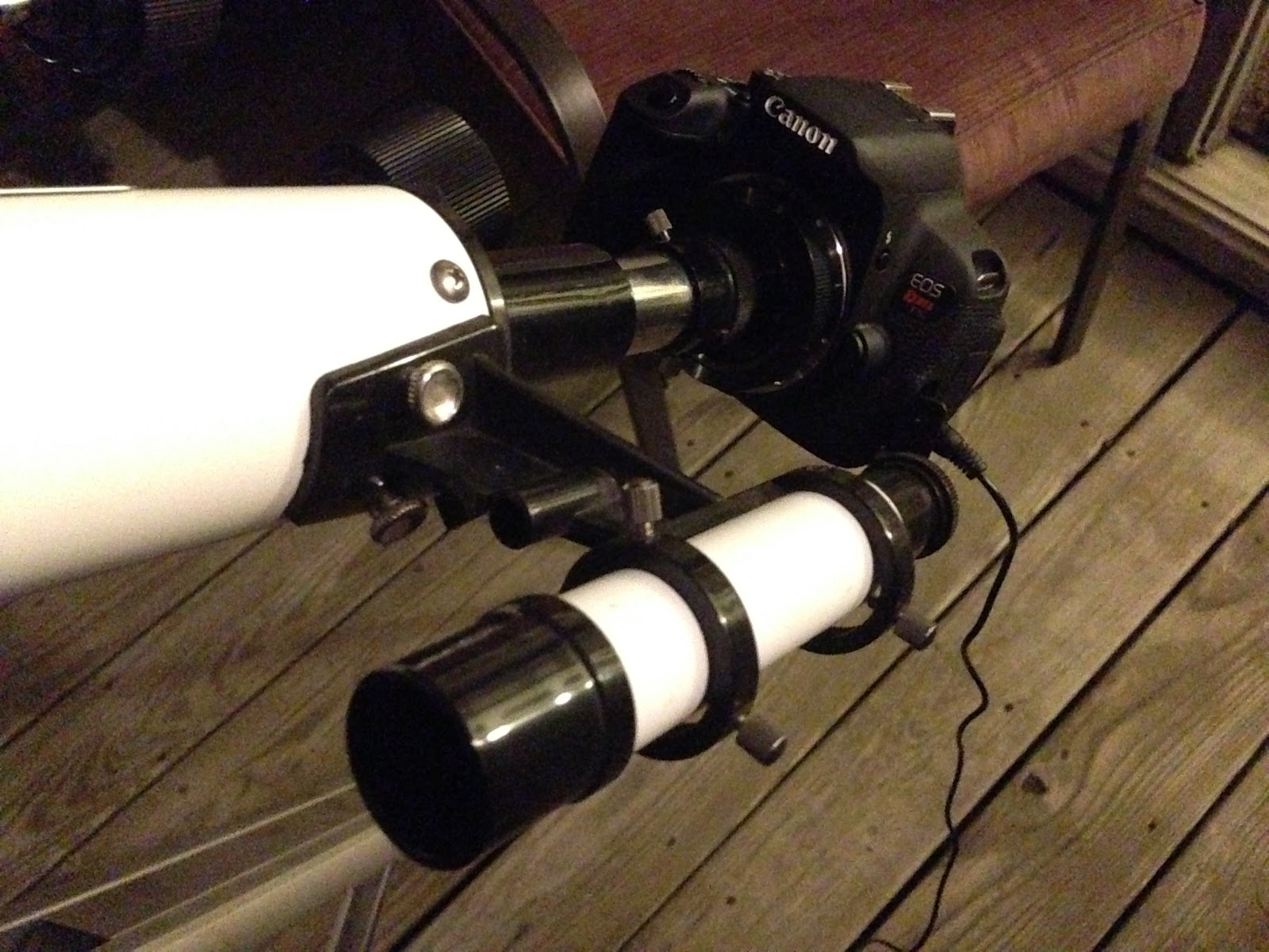 DSLR attached to refractor telescope