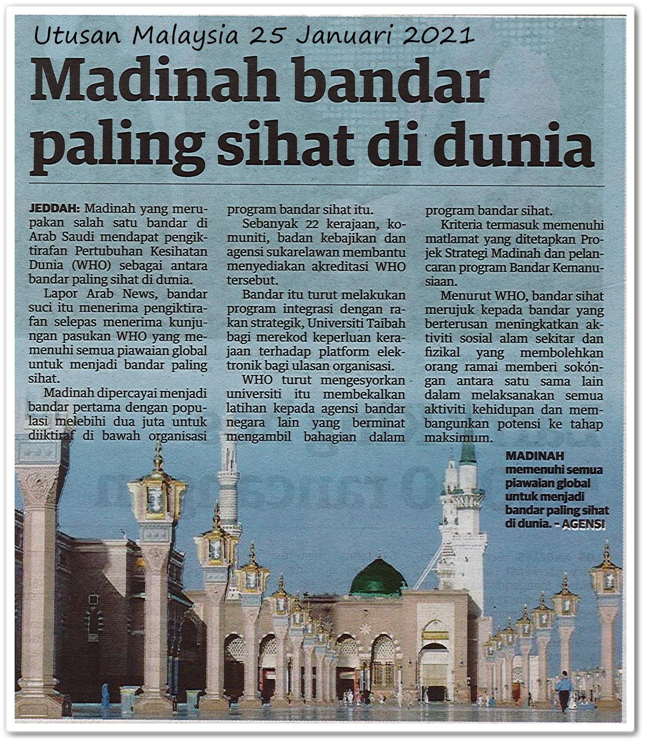 Madinah bandar paling sihat di dunia - Keratan akhbar Utusan Malaysia 25 Januari 2021