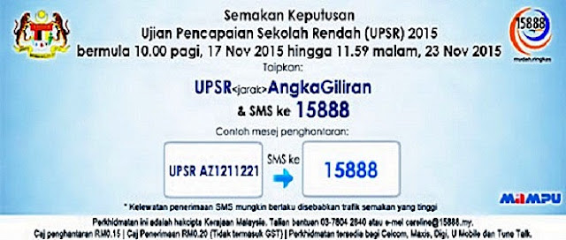 Cara Semak Keputusan UPSR 2015 Melalui SMS