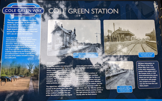 One of the information boards at Cole Green Station