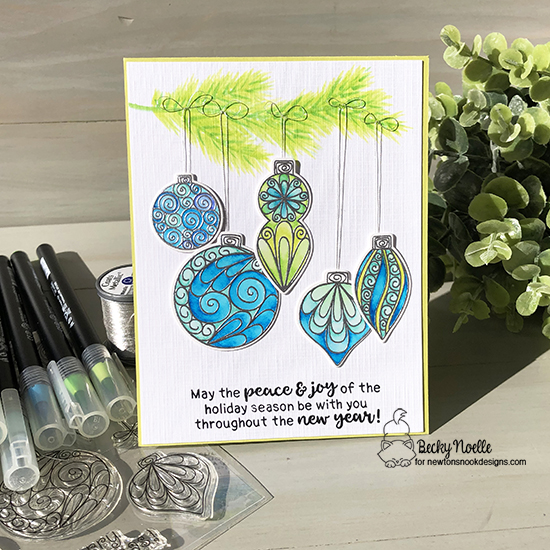 May the peace & joy of the holiday season by Becky features Beautiful Baubles and Sentiments of the Season by Newton's Nook Designs; #newtonsnook