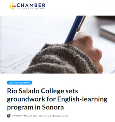 snapshot of chamber web page with story.  Image of someone's hand with a pencil.  headline Rio Salado College sets groundwork for English-learning program in Sonora