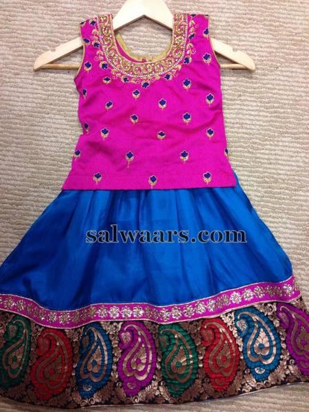 Blue and Pink Silk Lehenga