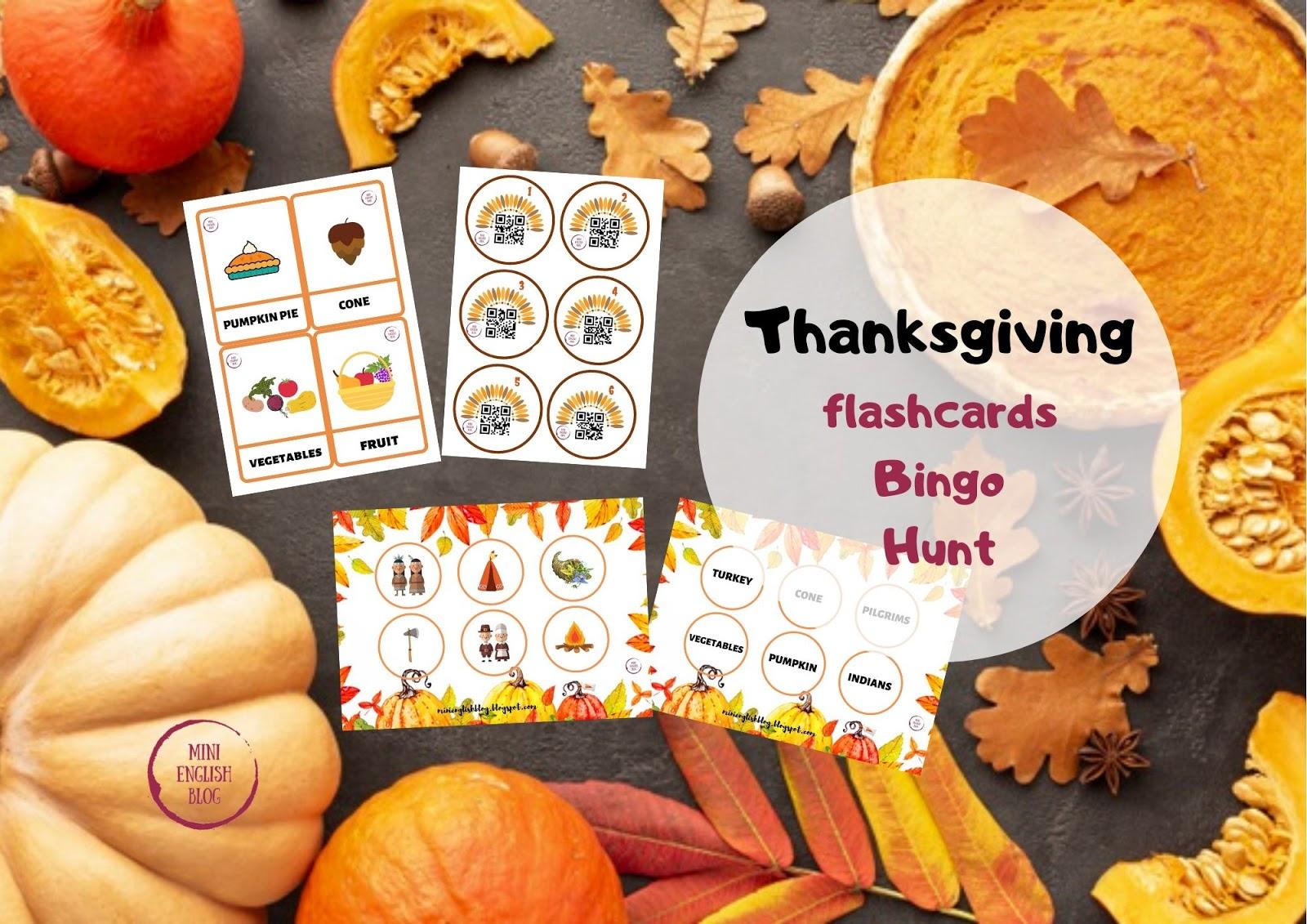 Thanksgiving: Hunt z qr kodami, Bingo i flashcards