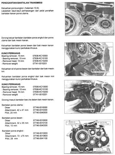 Panduan Cara Ganti Bantalan Transmisi Tiger 2000, Tiger Revo, Honda GL