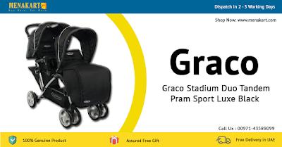 Graco Stadium Duo Tandem Pram Sport Luxe Black