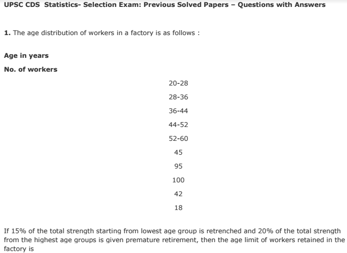 UPSC Statistics Selection Previous Solved Papers Questions