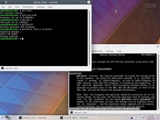 """Exemplo de utilização do novo comando """"gf2-morse"""". Também são evidentes as operações necessárias à configuração do gerador de funções."""