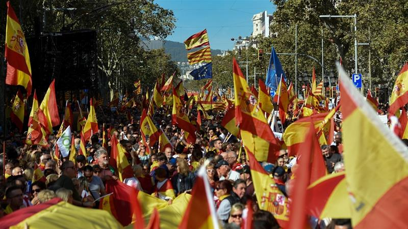 Thousands rally in Barcelona calling for Spanish unity