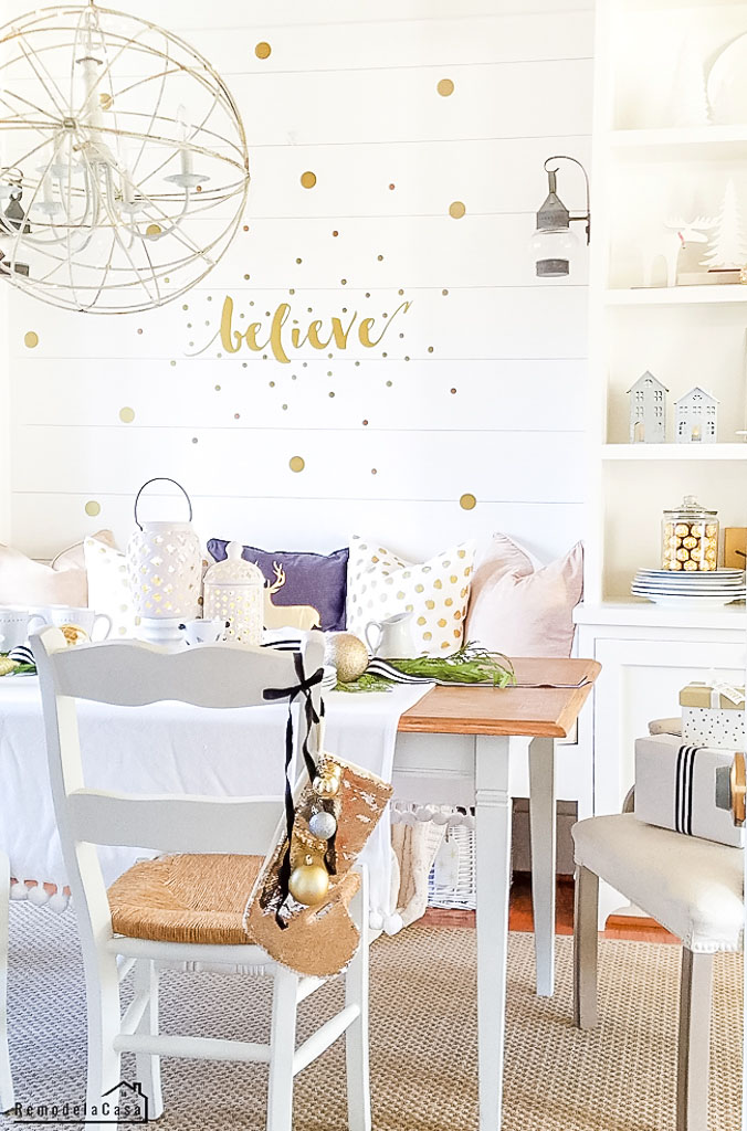 Believe sign on the wall - gold and white Christmas decor