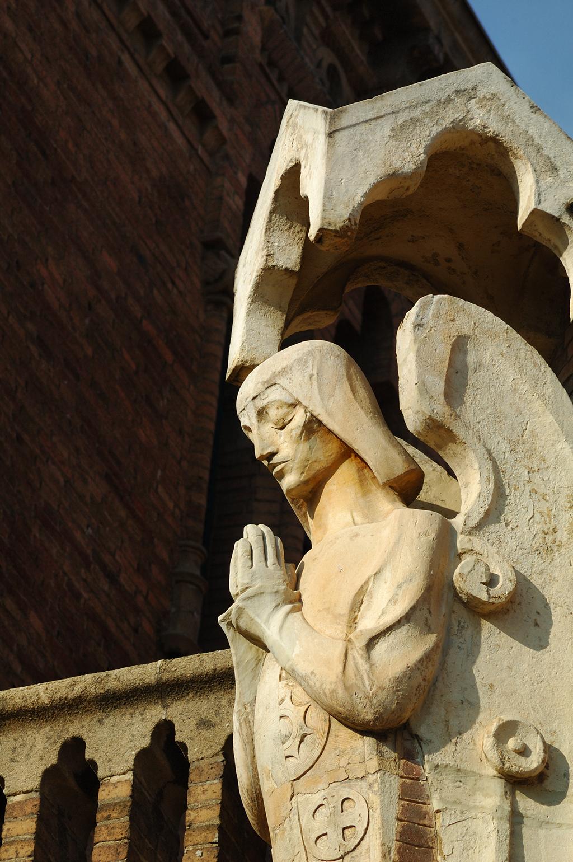 Modernist Archangel Sculpture inside Sant Pau Hospital modernist complex