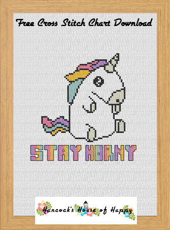 #free #unicorn #crossstitch chart free unicorn cross stitch chart stay horny