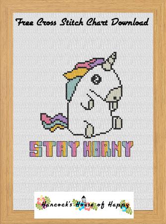 Free Printable Unicorn Cross Stitch Patterns : printable, unicorn, cross, stitch, patterns, Hancock's, House, Happy:, Horny!, Printable, Unicorn, Cross, Stitch, Chart, Download