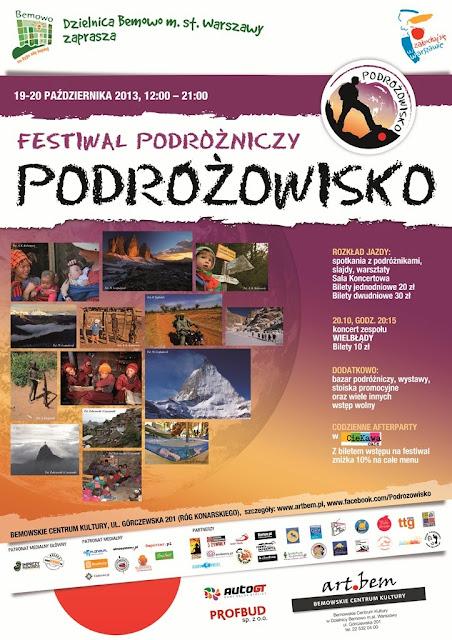 """Festiwal podróżniczy """"Podróżowisko"""" wWarszawie"""