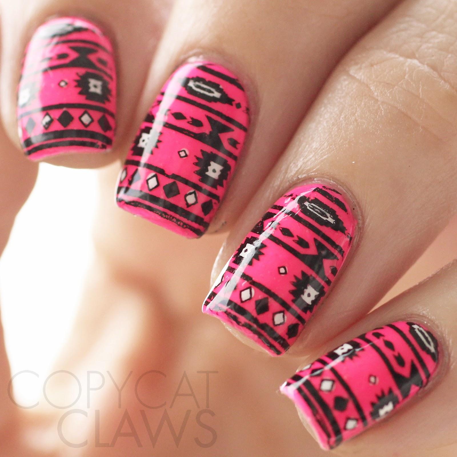 Copycat Claws: Hot Pink Tribal Nails
