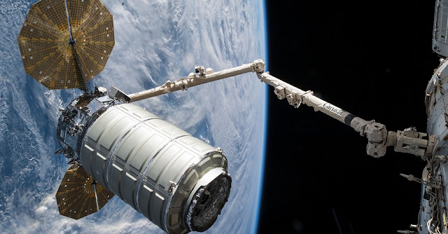 "From May 24, 2018 when the CRS-9 ""S.S. J.R. Thompson"" Cygnus arrived at the International Space Station and delivered approximately 7,400 pounds of cargo to astronauts on board. The spacecraft successfully departed from the station on July 15. Credit: Northrop Grumman Corporation"