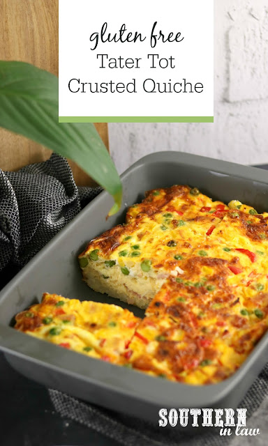 Tater Tot Crusted Quiche Recipe - Breakfast casserole recipe, healthy, gluten free, high protein, hash brown quiche, potato gems