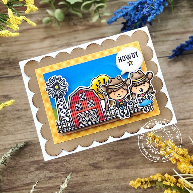 Sunny Studio Stamps: Little Buckaroo Farm Fresh Slimline Dies Frilly Frame Dies Farm Themed Card by Mayra Duran-Hernandez