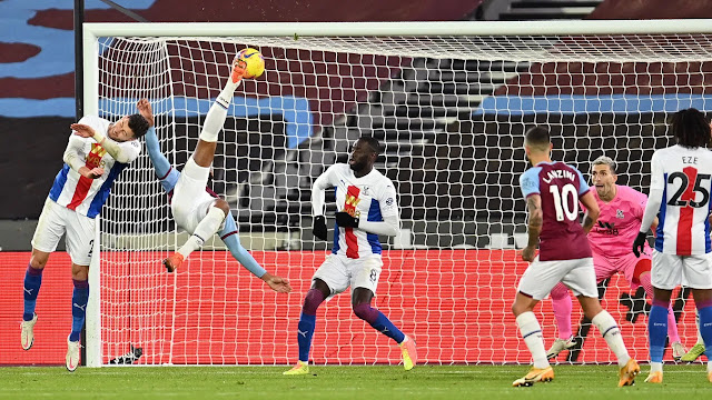 Seb Haller scores a brilliant overhead kick for West Ham against Crystal Palace