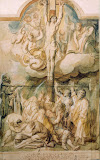 The Crucifixion by Jacob Jordaens - Christianity, Religious Drawings from Hermitage Museum
