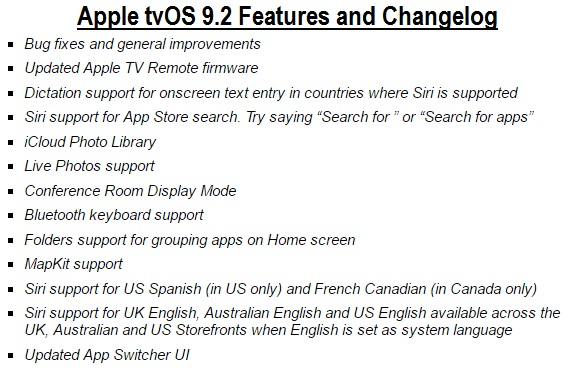 Apple tvOS 9.2 Features and Changelog